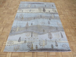 5'7 x 7'9 Hand Knotted Sky Blue Willow Tree Oriental Rug With Silk G5849 - $1,008.43