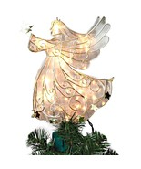 Gerson Int'l Lighted Faux Stained Glass Gold 11 inch Angel Christmas Tre... - $84.99