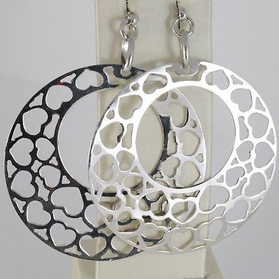SOLID 925 STERLING SILVER PENDANT EARRINGS BIG CIRCLE DISC WITH HEARTS 3.1 INCH