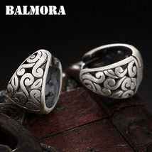BALMORA 100% Real 990 Pure Silver Vintage Cloud Hollow Clip Earrings for... - $27.84
