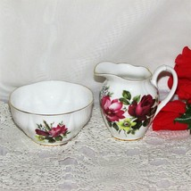 ROYAL ALBERT BONE CHINA CREAM & SUGAR SET PRETTY RED ROSE PINK YELLOW FL... - $24.99