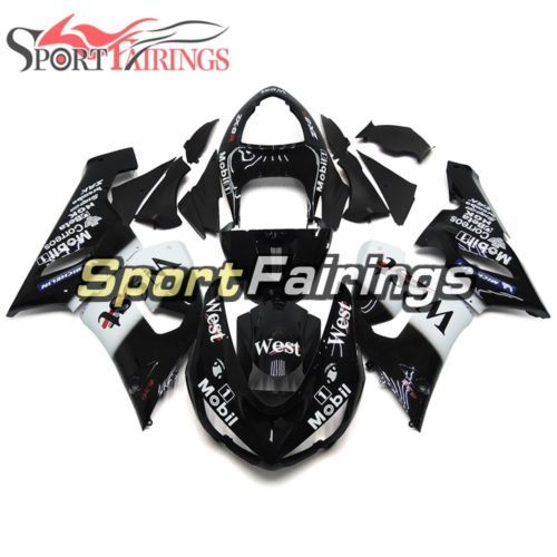 West Black White Body Frames For Kawasaki 2005 2006 ZX-6R Injection Fairing Hull
