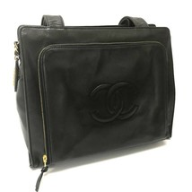 AUTHENTIC CHANEL CC Mark Tote Bag Shoulder Bag Black Lambskin Leather - $1,120.00