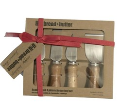 Cheese Tools 4 Pc Stainless Steel Acacia Wood Handles Cheese Knife Fork ... - $36.61