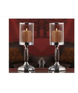 """14.2"""" Metal Candle Holders w Glass Candle Cup Set of 2 Home Table Decor ... - $44.54"""