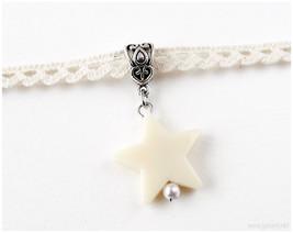Beige Lace Choker Necklace, Star Pendant, Pastel Grunge, 90s, Sweet Loli... - $8.00