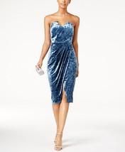 Jax Strapless Crushed Velvet Sheath Dress  BLUE - $32.00