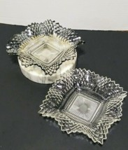 """Vintage 6"""" Indiana Glass Square Ruffled Clear Iridescent Ashtray or Cand... - $8.66"""