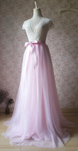 Floor Length Pink Tulle Skirt Pink Long Tulle Skirt Outfit Plus Size image 5