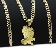 Mens 18k Gold Plated  Eagle  Hip-Hop Pendant 6mm Cuban Chain Necklace - $12.99
