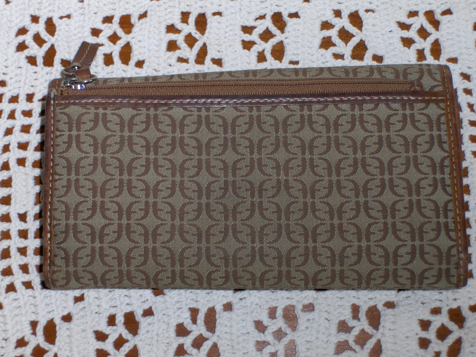 Fossil Clutch Wallet Brown Logo Leather Jacquard Organizer Checkbook Purse SL800