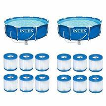 "Intex 10'x30"" Swimming Pool Set w/ Filter Pump (2 Pack) Filter Cartridge(12Pack) - £1,246.47 GBP"