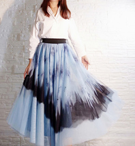 Dusty Blue Long Tulle Skirt Butterfly Dye Tulle Skirt Plus Size Party Outfit image 4
