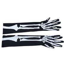 Halloween Long Skeleton Gloves Arm Mittens Evening Party Costumes - $7.98