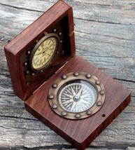Antique Brass Nautical Compass And Watch With Wooden Box Or Brass Gift - $23.05