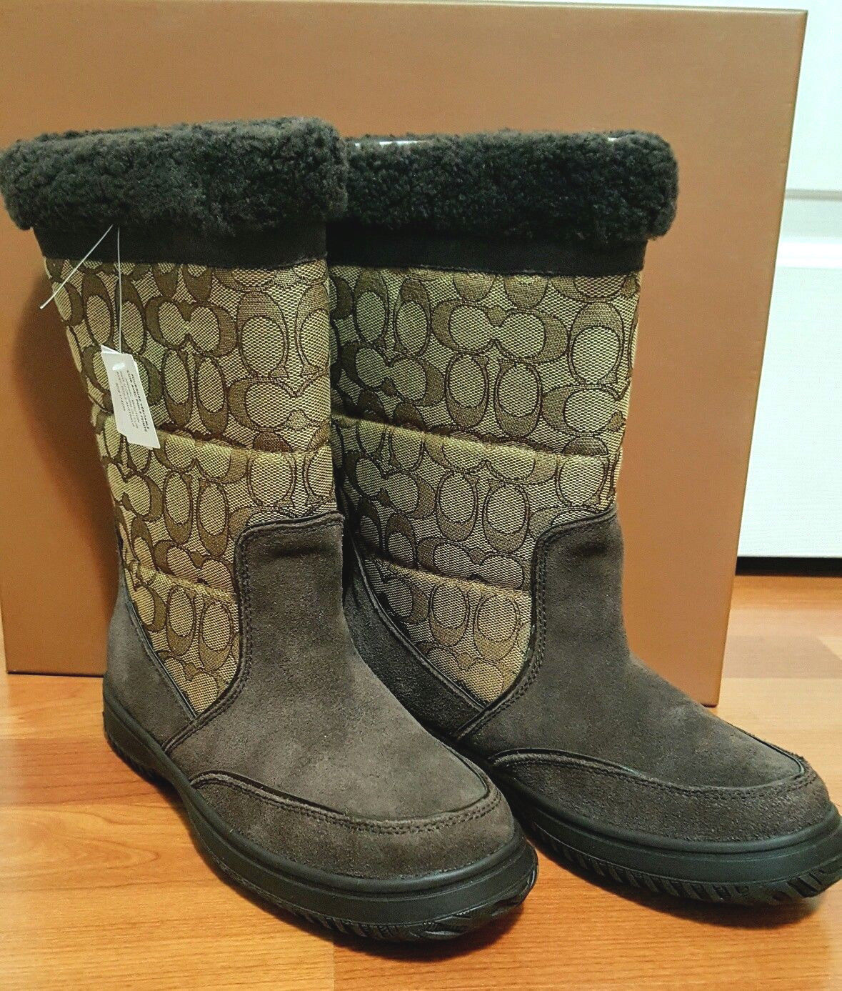 Coach Sherman Sig Suede/Sig C Chestnut/Khaki Cold Weather Boots-NIB 7M