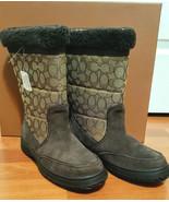 Coach Sherman Sig Suede/Sig C Chestnut/Khaki Cold Weather Boots-NIB 7M - $89.99