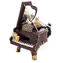 BestPysanky Cats Playing The Piano Animated Figurine with Music Box - $64.04