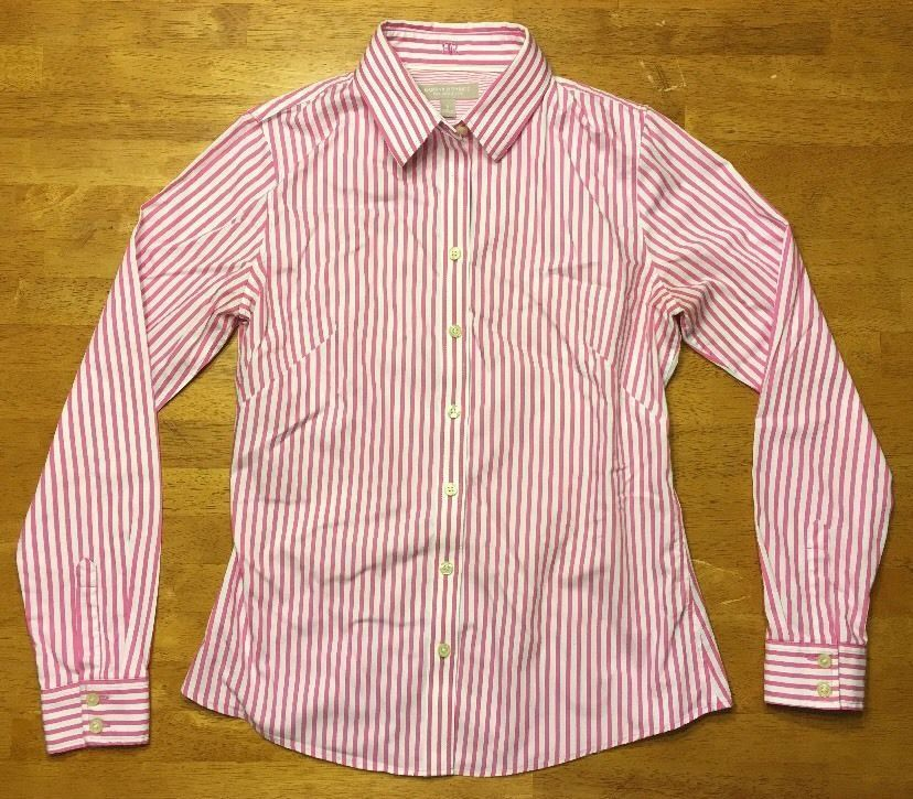 7fc76be5 57. 57. Previous. Banana Republic Women's Pink & White Striped Non-Iron  Fitted Dress Shirt Size 6