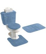 5 PIECE BATH RUG, CONTOUR, LID, TANK LID and TANK COVER SET - $42.98