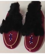 Vintage Little Girls Magenta Pink Black Fur Slip On Moccasins Sz 8 - $19.80