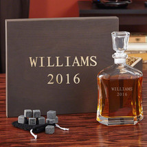 Personalized Decanter Gift Set with Engraved Keepsake Box - $119.95