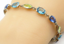 JE2 925 Silver - Vintage Tanzanite Blue Topaz & Peridot Chain Bracelet -... - $54.39