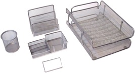 Majestic Goods 5 Piece Silver Mesh Desk Set - €24,37 EUR