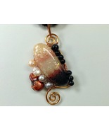Necklace Abstract Wire Work Handmade Polymer Clay Pendant Kumihimo Braid... - $49.99