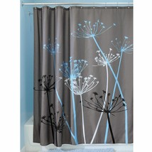 "InterDesign Bathroom Shower Curtain Thistle Gray/Blue Modern Decor 72"" 3... - $18.78"