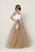 Women 4-layered Full Tulle Skirt High Waist Floor Length Tulle Skirt (US0-US30) image 8