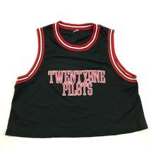 Twentyone Pilots Cropped Tank Top Jersey Size Medium Loose Fit Black Red... - $27.33