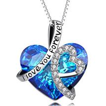 925 Silver Necklace *Bermuda Blue* Queen Baguette Crystals from Swarovski® - $12.73