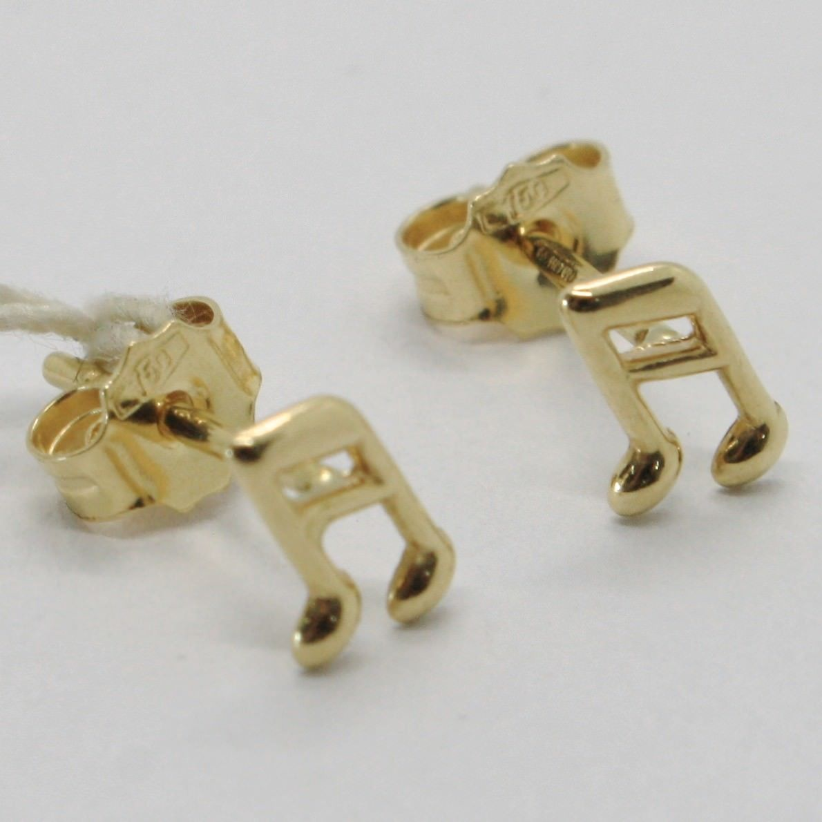 18K YELLOW GOLD EARRINGS, WITH MINI MUSICAL NOTE, LENGTH 7 MM, MADE IN ITALY