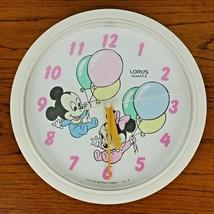 Vintage Disney Baby Mickey Minnie  Nursery Wall Clock Lorus 80s - $19.99