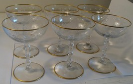 Vintage Crystal Gold Rim Floral Etched Wine Glass Stemware Set of 6