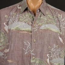 Vintage Cooke Street Hawaiian Aloha Shirt XL Reverse Print Cranes Cattails - $14.95