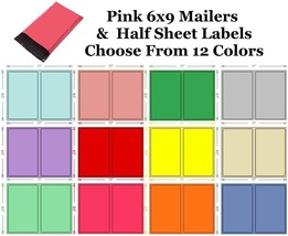6x9 ( Pink ) Poly Mailers + Colored Half Sheet Self Adhesive Shipping La... - $2.99+