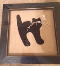 "Primitive Halloween Cat Cloth Picture 7""x7"" New - $7.99"