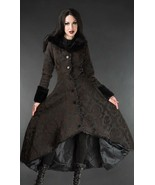 Women's Brown Brocade Gothic Victorian Winter Long Corset-Back Steampunk... - $169.83