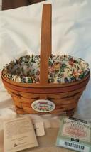 Longaberger 1995 Easter Basket Red Brown Weave Liner Protector & Tie On ... - $29.95