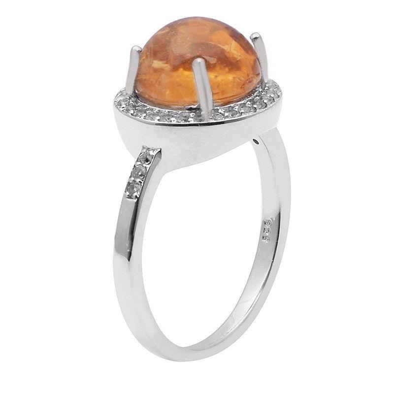 Yellow Tourmaline,White Topaz 925 Sterling Silver Ring Jewelry Size-7 SHRI1492