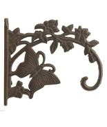 "Decorative Butterfly Design Cast Iron Plant Hanger 7"" Tall Hook Outdoor ... - $13.99"