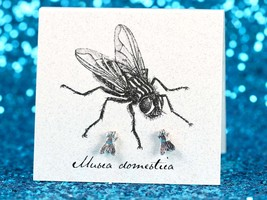 Sterling Silver House Fly Stud Earrings - Small Silver Post Back Earring... - $14.50
