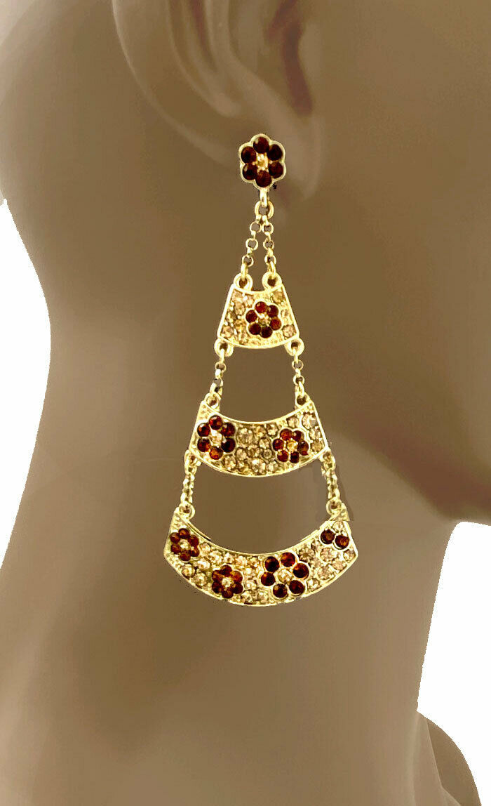 """3"""" Long Brown & Honey Crystals Floral Chandelier earrings, Pageant, Drag Queen - $12.35"""