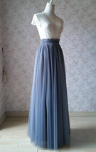 GRAY Wedding Bridesmaid Long Tulle Skirts High Waist Gray Full Tulle Skirt Plus  image 3