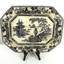 W Adams Jeddo Ironstone Chinese Asian Platter Antique Vintage Black White - £99.69 GBP