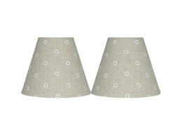 Urbanest Set of 2 Mini Chandelier Lamp Shades, Natural Linen with Daisies, 3x6x5 - $15.83