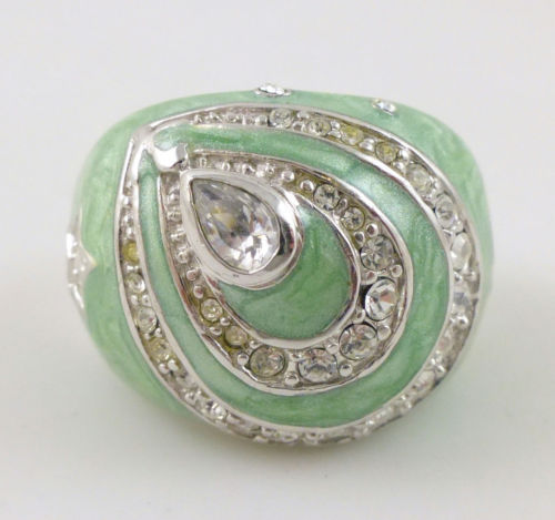 Primary image for TEARDROPS Star Heart Green Enamel RING in Sterling Silver with Cubic Zirconia