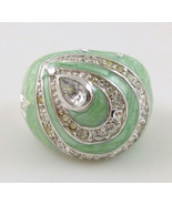TEARDROPS Star Heart Green Enamel RING in Sterling Silver with Cubic Zir... - $66.43 CAD